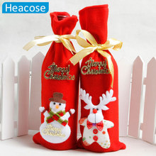 2017 red 3D wine bottle cover santa claus snowman deer bear handmade Ornament new year Christmas Dinner Table Home party Decor(China)