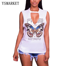 Women Fashion Tank top butterfly Print Sexy Back Hollow Out Summer Tops Deep V Neck Tshirt E250155(China)