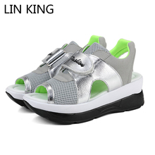 LIN KING Women Swing Shoes Breathable Mesh Platform Sandals Beach Shoes Patchwork Peep Toe Low Top Hook Silmming Healthy Shoes