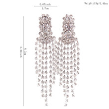2017 New Design Bridal Silver Plated Rhinestone 3 round Chandelier Shape Long Tassel Clip on Earrings Without Piercing for Women(China)