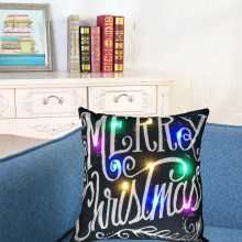 hot1Pc Creative Colorful Linen LED Merry Christmas Pillowcase Cushion Cover Home Office Decoration Christmas Decor Gifts 45*45cm