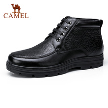 CAMEL Men's 눈 겨울 Short Boots 와 털 Retro Genuine Leather Boot Non-slip Business Men's Shoes 고무 non-slip Botas 보낸(China)
