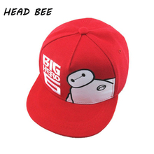 [HEAD BEE] 2017 New Children Cartoon Hip Hop Hat Snapback Caps Kid Big Hero Letter Baseball Cap For Boys And Girls