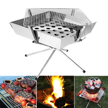 Stainless steel multi-purpose charcoal grill/outdoor camping foldable BBQ shelves thickening durable grill rack