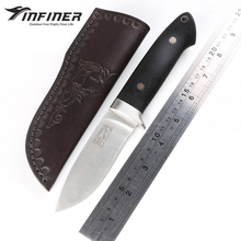 INFINER Loveless A2 blade G10 handle fixed blade hunting knife Leather sheath tactical camping survival outdoors knives EDC tool(China)