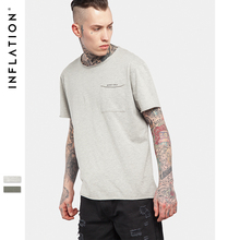 INFLATION 2017 Latest t shirts Longer With Pocket In The Rear Mens T shirts Plain Color Short Sleeve