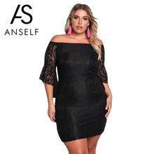 ANSELF XXXL Elegant Women Lace Dress Plus Size Off Shoulder Bell Sleeve Ruffled Mini Bodycon female Oversize Party Dresses Lady(China)