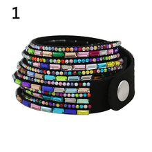 Fashion Bangle Bracelet  with Multi-Layers Rhinestones Faux Leather for Women/Men