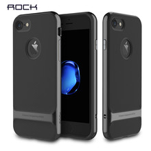 for iPhone 7 case Rock Royce Series Jet Black color TPU+PC Anti-Knock Protective Case for Apple iphone 7 Plus back cover(China)