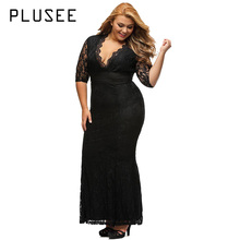 Buy Plusee Plus Size Lace Dress Women Straight Sexy V-Neck Autmn Plain Party Gown Ankle-Length Big Size Dress Plus Size Lace Dresses for $20.90 in AliExpress store