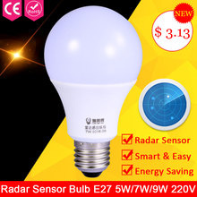 E27 7W Radar Sensor Bulb 220V Smart LED Light Bulbs Motion Sensor Lamp Led Auto Detection Lampada E27 Home Lighting Bombillas