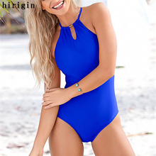 Buy One Piece Suits Sexy Women Swimsuit Halter Bathing Suit Bandage Swimwear Solid Monokini Bikini Summer Beachwear
