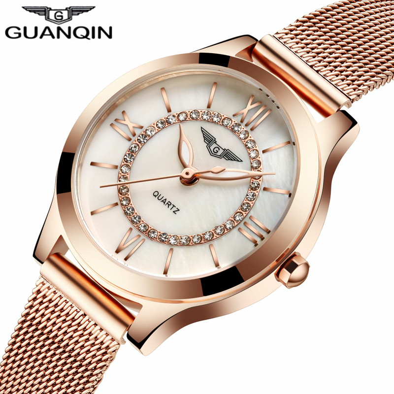GUANQIN Ladies Watches Gold Watch Women Dress Top Brand Womens Fashion Stainless Steel Bracelet Quartz Watch Relogio Feminino<br>