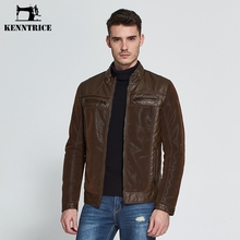 Kenntrice Brand Patchwork Suede Leather Jacket Men Sheepskin Coats Brown Pilot Leather Jacket Winter Mens Suede Coat Plus Size
