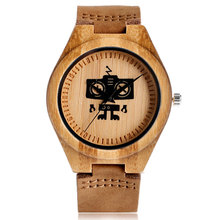 New Cute Cool Robert Pattern Bamboo Wooden Wristwatches Simple Dial Genuine Leather Wood Boy's Watch Unisex Christmas Gifts(China)