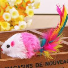 New Qualified 3PCS Furry Mouse Cat Kitten Real Fur Gravel Sounds Cute Toy Faux Mice Cat Toys Dropship D48SE4(China)
