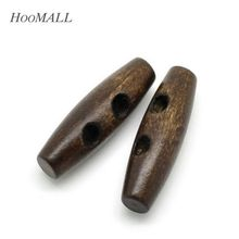 Hoomall 25PCs 2 Holes Wooden Buttons Sewing Horn Toggle Buttons For Coat Cloth Accessories Craft DIY And Scrapbooking 3.5x1.1cm(China)
