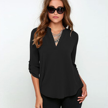 Women Summer Style Chiffon Blouses Shirts Lady Girls Casual Long Sleeve V-Neck Blusas S-6XL Plus Size DF1071