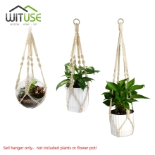 WITUSE Promotion! Handmade Plant Hanger 4 Legs Jute Woven Khaki Flowerpot Macrame Rope Flower Display For Home Garden Decoration(China)