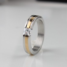 Wide 4mm zircon Golden stripes rings 316L Stainless Steel women finger ring  wholesale lots jewelry