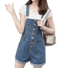 Button-Front Denim Overalls Shorts For Women Spring Summer 2017 Fashion Loose Women Bib Overalls New Dungarees Salopette Macacao