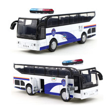 Alloy toy model cars Travel big light police bus Cartoon pattern school bus juguetes voiture Christmas gift for kids(China)