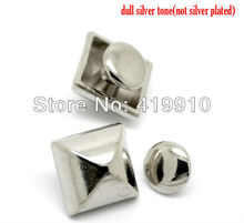 Free shipping -30 Sets Silver Tone Square Pyramid Rivet Studs Spots 9mmx9mm 7mm Bag Leather Clothes J1252(China)