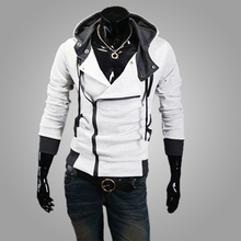 2016 autumn new design turn down collar fashion criss cross T-shirts with cap rib sleeve conventional thin Jacket for man hot