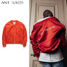 Ant rabbi 2017 Newest High Street Jacket Kanye West Heavy Weight Bomber Jacket Mens Red Ruched Sleeve Relaxed Fit Baseball Coats(China)