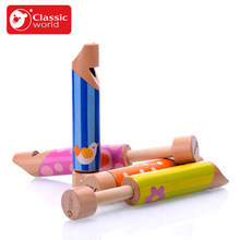 Classic Worlde Colorful  Wooden  Small Drawing Musical Train Whistle Musical Toy Funny Gift Toys for Kids Children Boys Girls