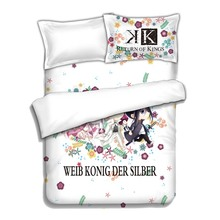 Japanese Anime K Project 4pcs Bed Linen Bed Sheets Duvet Cover Set(China)