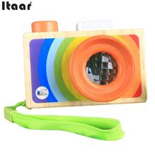 Simulation Kaleidoscope Picture Lens Wooden Camera Pretending Toys Kids(China)