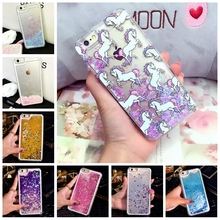 Dynamic Liquid Water Quicksand Unicorn StarsHeart Paillette Case Back Cover Skins For Apple iphone 4s 5s SE 6 6s 6plus 6splus