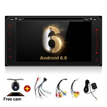 Car DVD 2 din GPS Universal Android 6.0 Quad Core 16GB with Microphone GPS Navigation Bluetooth Stereo Audio Player(China)