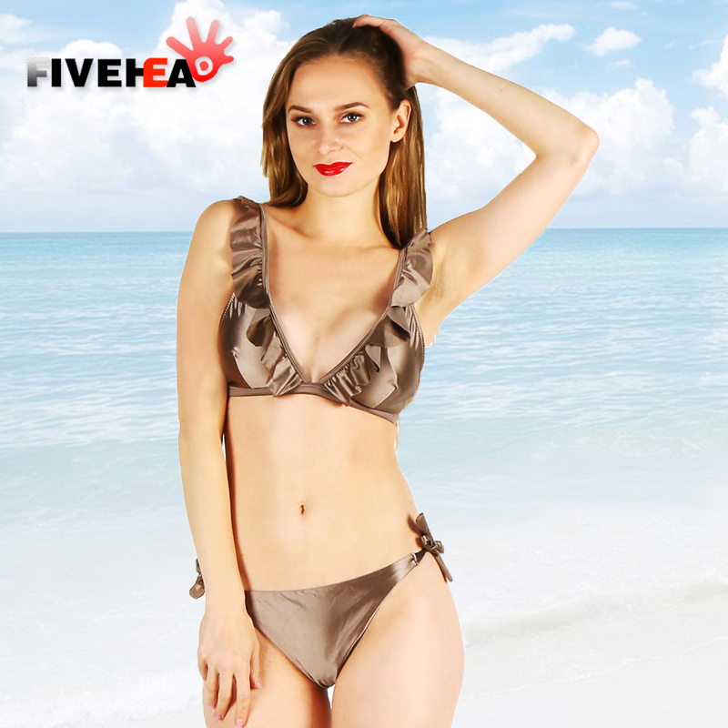 bikini women swimwear sexy Ruffle sling low waist lace large size big cup bathing body suit swimsuit biquini printed female<br>