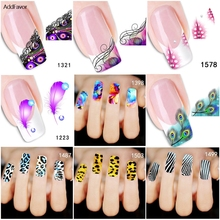 AddFavor 1Pc Nail Sticker Animal Skin Feather Pattern Nail Art Decal Water Transfer DIY Fingernail Foil Manicure Decoration Tool(China)