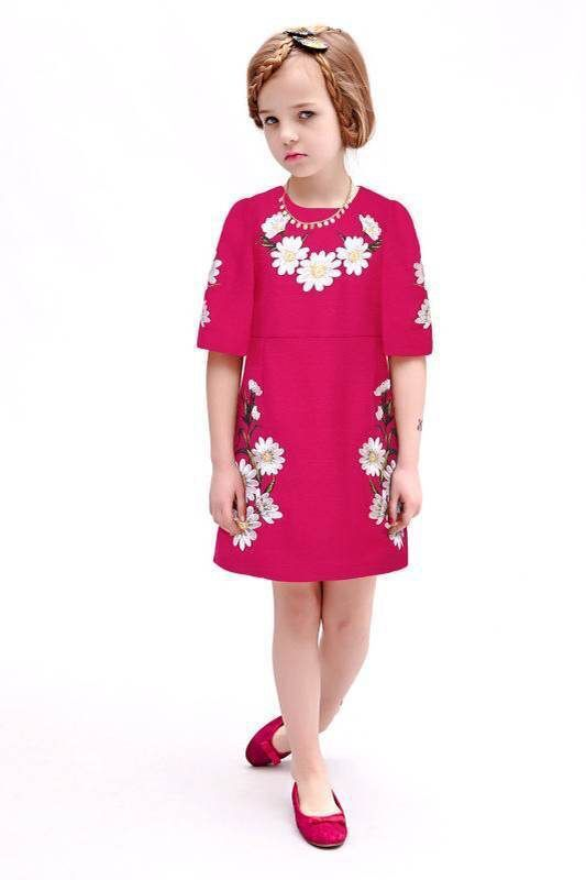 New brand girls rose red dress sunflower embroidery half sleeve fashion dress for summer and spring children clothes enfant<br>