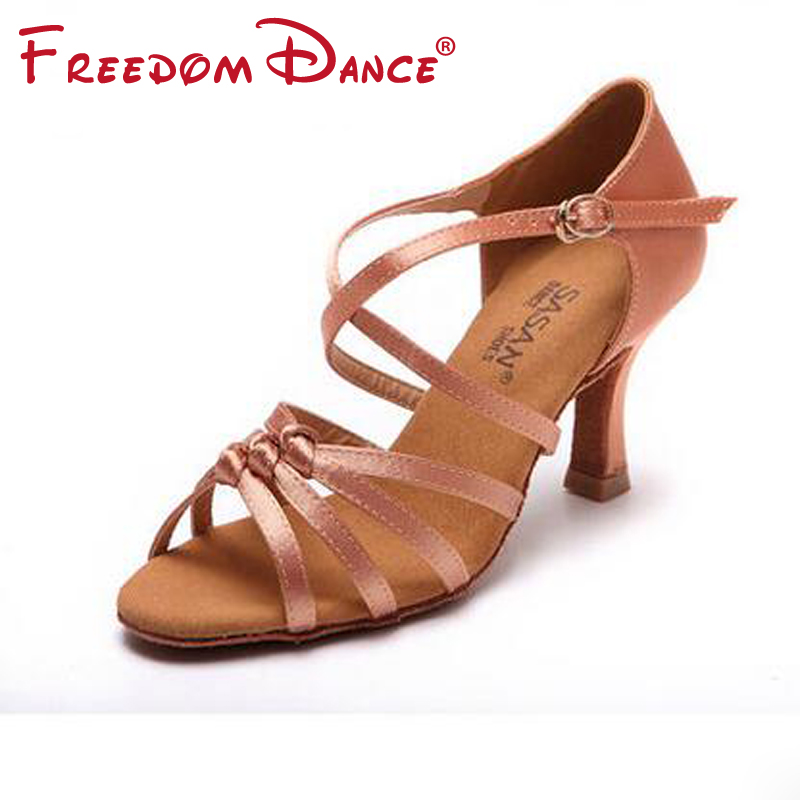 2018 New Satin Straps Knotted And Crossover Strap Girls Latin Dance Shoe 3<br>