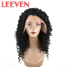 Leeven Synthetic Deep Wave Wigs Lace Front Wigs High Temperature Fiber Curly Hair For Black Women Natural Color 1b