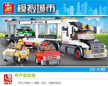 Sluban 638pcs Auto Transport Truck Building Blocks Transport aircraft vehicle Bricks Toys Gift