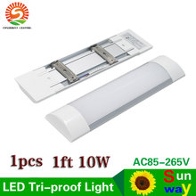 LED Tri-Proof Light Batten Tube Explosion Proof Tube 30cm 1ft LED Tube Lights Replace Fluorescent Light Fixture Ceiling 10W 1pcs(China)