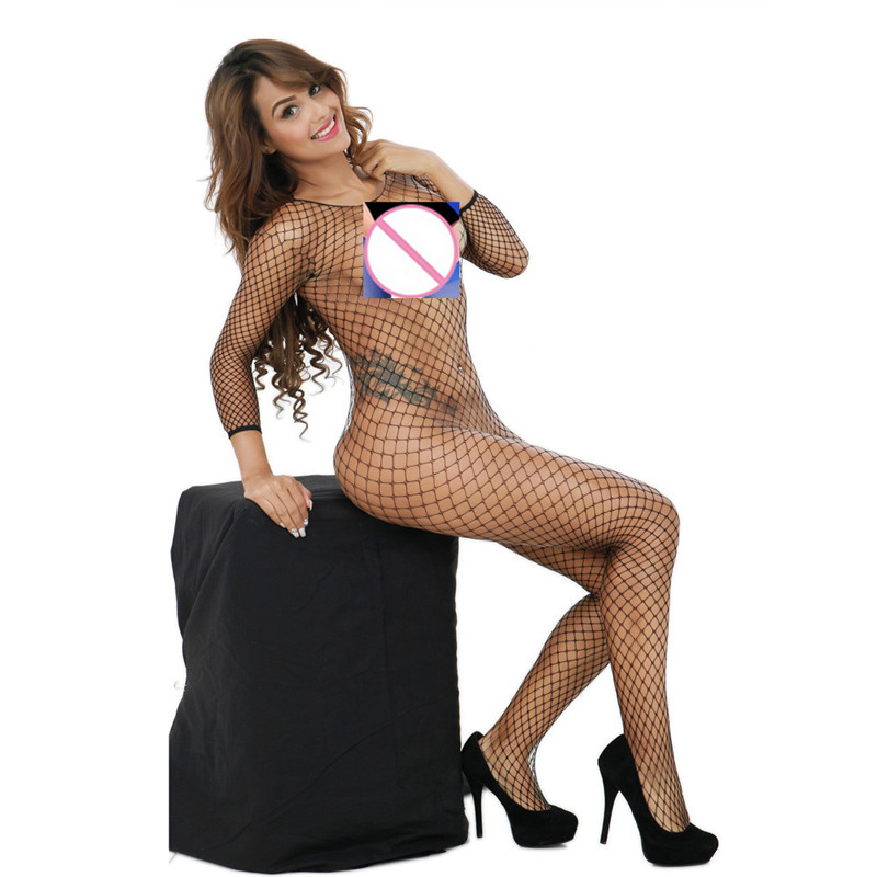 Fashion  Women Sexy Lingerie Fishnet Crotchless Babydoll Bodysuits Nightwear Woman 2018(China)