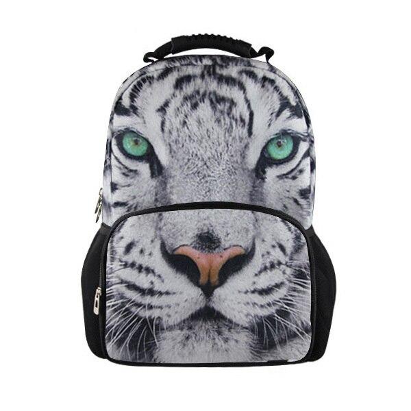Hot Designer 3D Animal Mens Backpack White Tiger Head Children School Backpacks Boys Casual Shoulder Bag Kids Students Backpack<br>