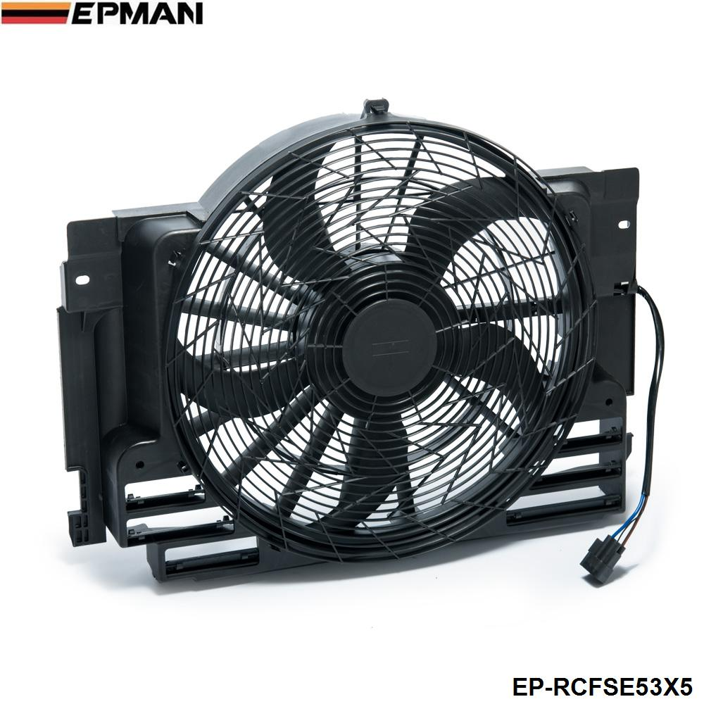 EPMAN -AC Radiator Condenser Cooling Pusher Fan 5 Blade For BMW X5 00-06 64546921381 EP-RCFSE53X5