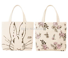Peter Rabbit Flowers Double Sided Printing Canvas Bag Women Shoulder Bags Casual Handbag Large Totes Shopping Bag