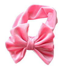 1pcs Baby Velvet Floppy Bows Turban Headband Toddler Hair Bands Head Wrap Twisted Knot Big Bow Headbands Hair Accessories(China)