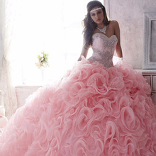 Luxury  Pageant Dresses Beaded Lace Sweetheart Light Pink Puffy Wedding Dress  Ruffles Custom Made Size2 - 22W