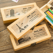 JIANWU JIANWU/World view wooden pencil case boy stationery case log pencil bag pencil box(China)