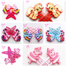 4/5 Pairs Children Pig Hair Accessories Little Ponys Hair Clip Cartoon Kids Hairpins Cute Hair Ornaments wholesale