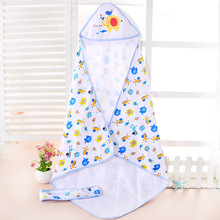 Newborn Baby Boys Girls Cartoon Pattern Cotton Hooded Blanket Super Soft Comfortable Bedding Sleeping Blanket
